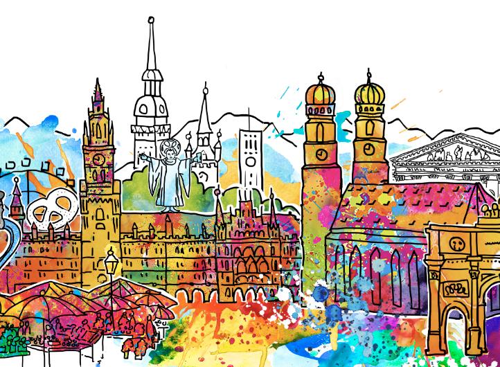 Frische und freche Stadtansicht von München mit farbenfrohen Klecksen und liebevollen Illustrationen der Sehenswürdigkeiten und Highlights.